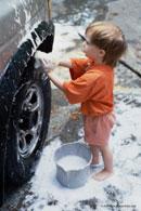 Child washing car; Size=130 pixels wide
