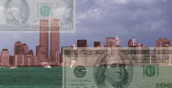 New York City Skyline with $100 bills