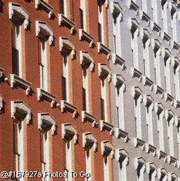 Narrow windows of building facade