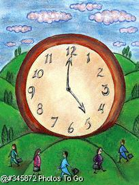 People w/ large clock