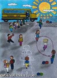 Illustration: In the schoolyard