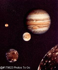View of Jupiter & moons from Voyager 1