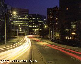 Route 1 into Stamford, CT at night